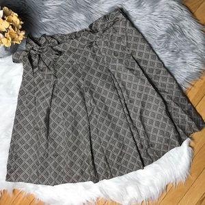 Banana Republic Pleated Silk A-Line Printed Skirt
